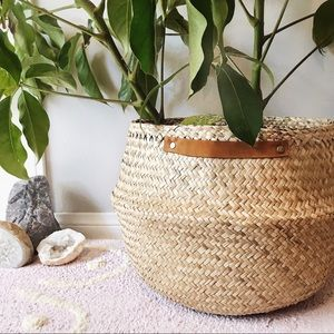 Tan Belly Basket with Leather and Gold Straps